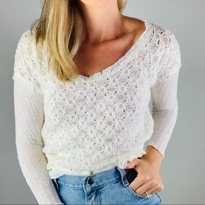 FREE PEOPLE White Cotton Wool Knit Scoop Sweater S